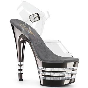 Gris 18 cm ADORE-708CHLN Sandales Femmes Plateforme Chrome