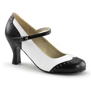 Noir Blanc 7,5 cm FLAPPER-25 Escarpins Chaussures Femme