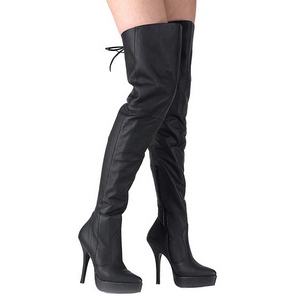 Noir Cuir 13,5 cm INDULGE-3011 bottes cuissardes hommes