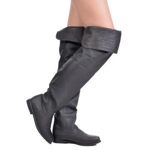Noir Cuir 8 cm RAVEN-8826 bottes overknee femme