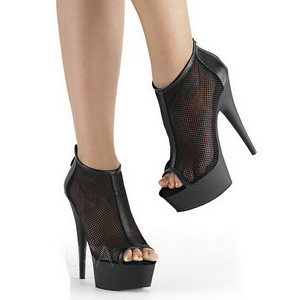 Noir Filet 15 cm Pleaser DELIGHT-600-12 Plateforme Bottines