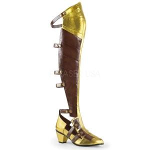Noir Mat 6,5 cm MAIDEN-8830 bottes cuissardes cosplay