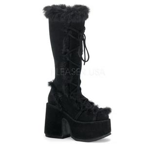 Noir Peau 13 cm CAMEL-311 Bottes Gothique Plateforme