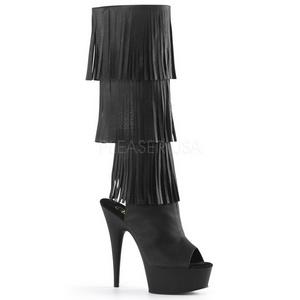 Noir Similicuir 15 cm DELIGHT-2019-3 bottes a frangees pour femmes a talon
