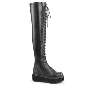 Noir Similicuir 5 cm EMILY-375 bottes cuissardes à lacets