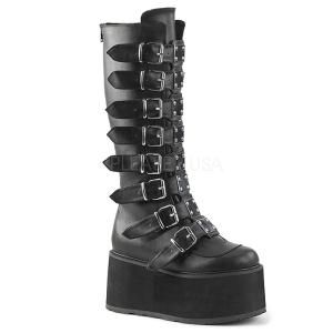 Noir Similicuir 9 cm DAMNED-318 plateformes bottes à boucles pour femmes