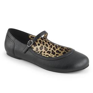 Noir Similicuir ANNA-02 grande taille chaussures ballerines