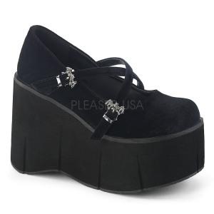 Noir Velours 11,5 cm KERA-10 chaussures lolita plateforme
