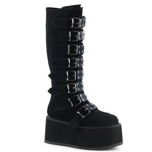 Noir Velours 9 cm DAMNED-318 plateformes bottes à boucles pour femmes
