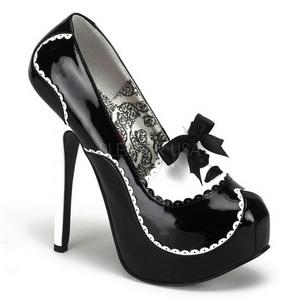 Noir Verni 14,5 cm Burlesque BORDELLO TEEZE-01 Escarpins Haut Talon