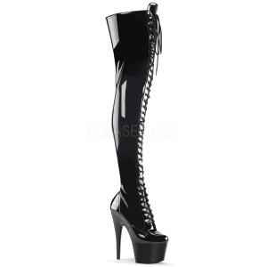 Noir Verni 18 cm ADORE-3023 Plateforme cuissardes et genoux