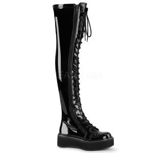 Noir Verni 5 cm EMILY-375 bottes cuissardes à lacets