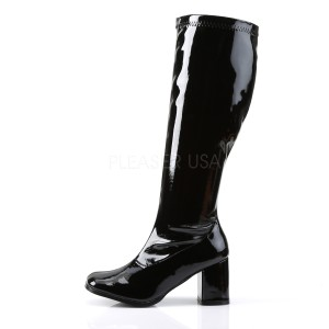 Noir Verni 7,5 cm GOGO-300WC bottes femme mollets et jambes larges