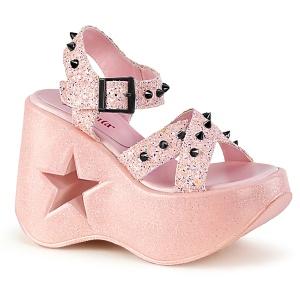 Rose 13 cm Demonia DYNAMITE-02 sandales lolita talons compensées