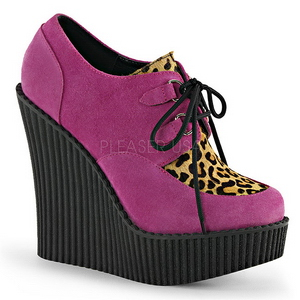Rose Similicuir CREEPER-304 chaussures creepers compensées