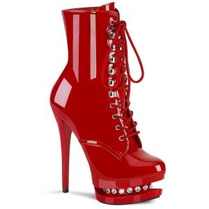 Rouge 15,5 cm BLONDIE-R-1020 bottines à plateforme lacets talon en verni