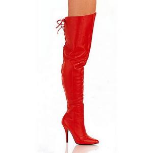 Rouge Cuir 13 cm LEGEND-8899 bottes overknee femme