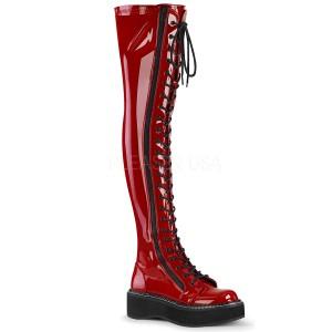 Rouge Verni 5 cm EMILY-375 bottes cuissardes à lacets