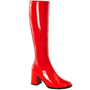 Rouge Verni 8,5 cm GOGO-300 Bottes Femmes pour Hommes