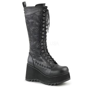 Similicuir 9 cm SCENE-107 Bottes punk noir avec lacets