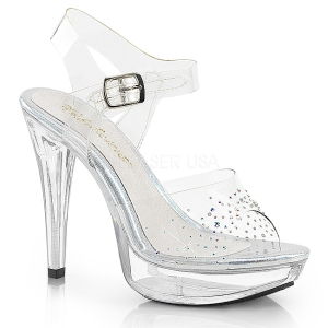 Transparent 13 cm COCKTAIL-508SD chaussures à talons plateforme strass