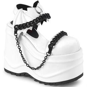 Vegan Blanc 15 cm Demonia WAVE-20 lolita sandale talon compensé plateforme