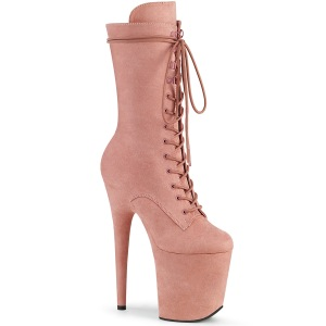 Vegan suede 20 cm FLAMINGO-1050FS bottes plateforme de pole dance en rose