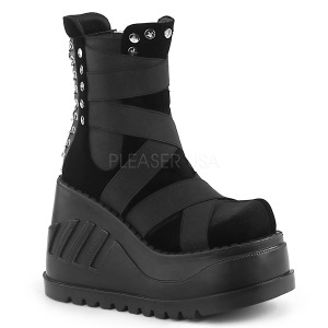 Velours 12 cm Demonia STOMP-25 bottines plateforme gothique