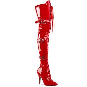 Verni 13 cm SEDUCE-3028 bottes cuissardes à lacets rouge