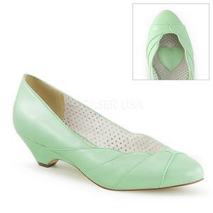 Vert 4 cm retro vintage LULU-05 Pinup escarpins femmes à talons bas