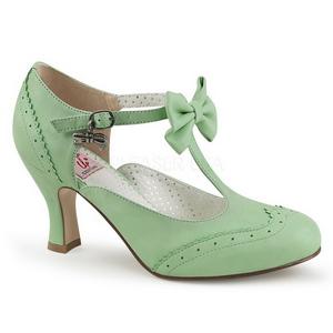 Vert 7,5 cm FLAPPER-11 Pinup escarpins femmes à talons bas