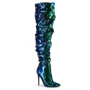 Vert Paillettes 13 cm COURTLY-3011 bottes cuissardes pleaser