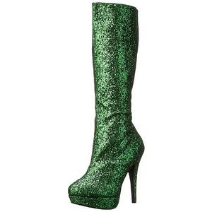 Vert Scintillement 13 cm LOLITA-300G Bottes Plateforme Femmes