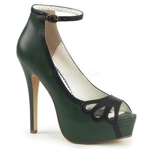 Vert Similicuir 13,5 cm BELLA-31 chaussures escarpins bout ouvert