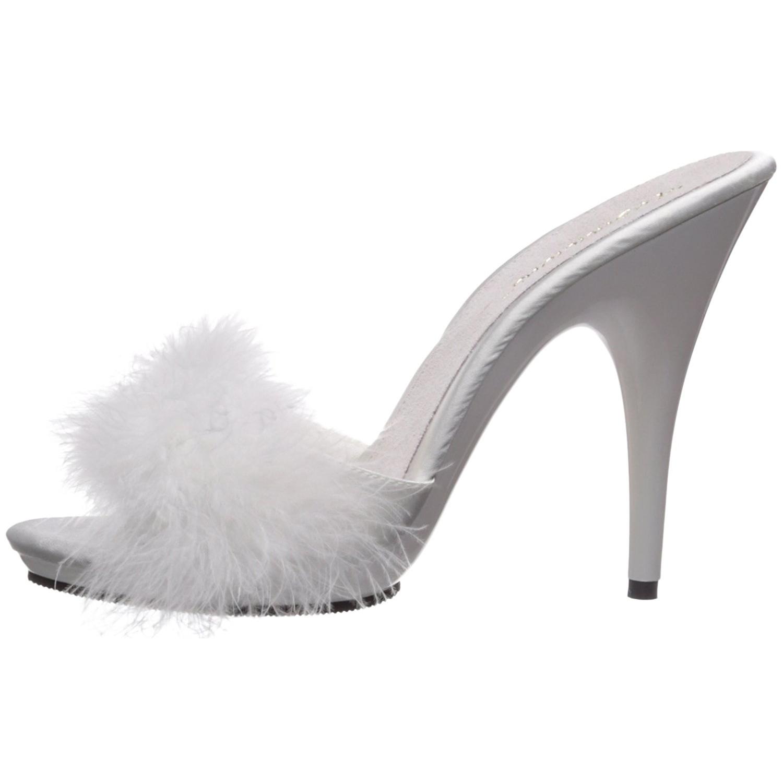 les ventes en gros grande remise pour coupe classique Blanc 13 cm POISE-501F plumes de marabout Mules Chaussures