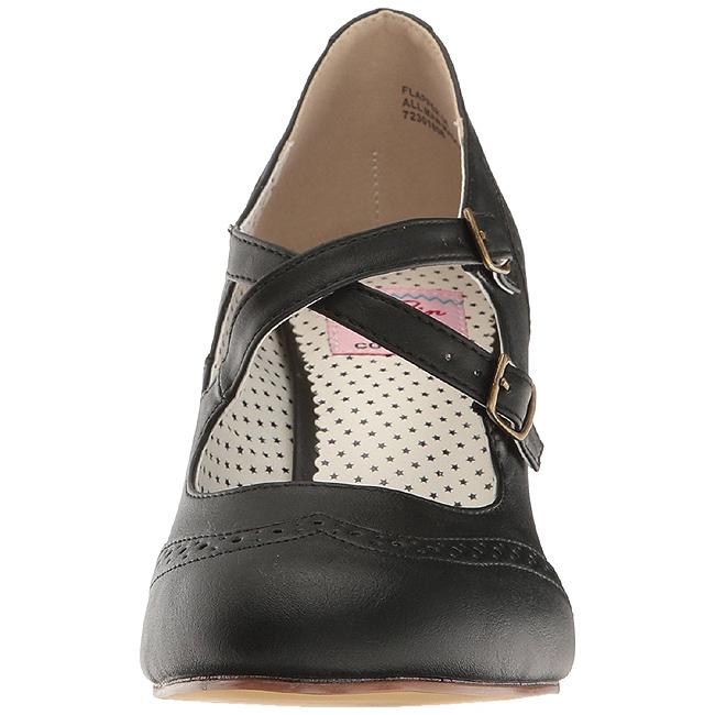 regarder bb1f1 4375b Noir 7,5 cm FLAPPER-35 Pinup escarpins femmes à talons bas