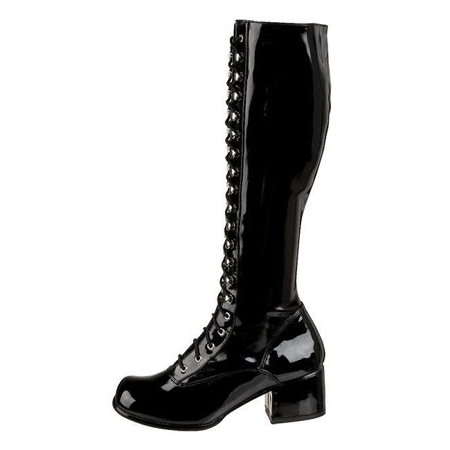 noir verni 5 cm retro 302 bottes lacets femmes boutique en ligne. Black Bedroom Furniture Sets. Home Design Ideas