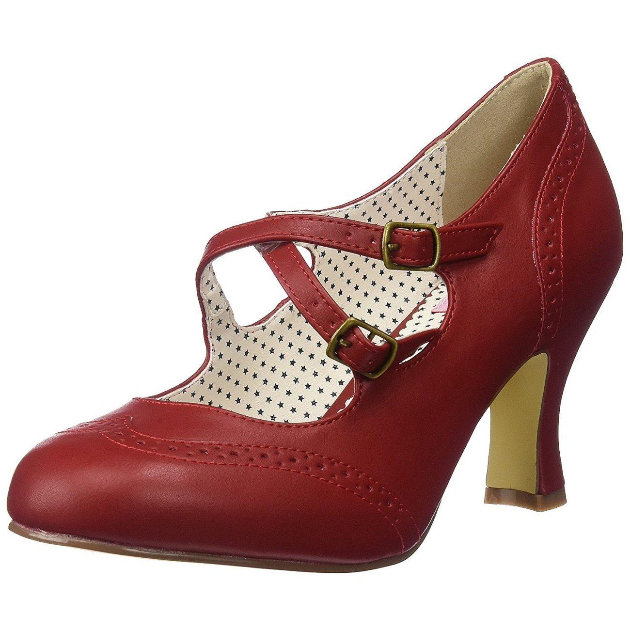 meilleure sélection 10954 6efbb Rouge 7,5 cm FLAPPER-35 Pinup escarpins femmes à talons bas