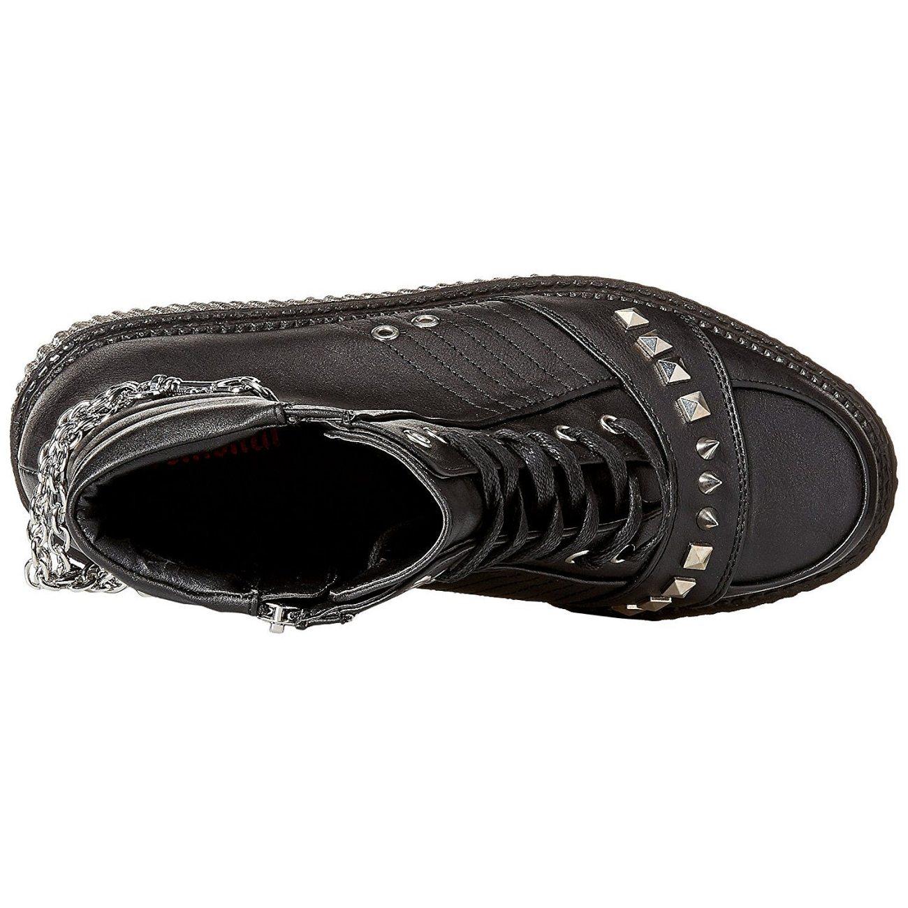 Blk Leather V creeper Vegan Demonia 565 xsdtQrBhC