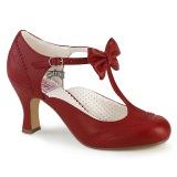 Rouge 7,5 cm retro vintage FLAPPER-11 Pinup escarpins femmes à talons bas