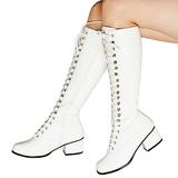 Blanc 5 cm RETRO-302 bottes à lacets talons carrés - vernis bottes années 70