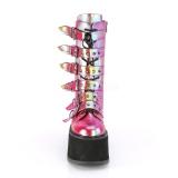Arc en ciel 9 cm DAMNED-225 plateformes bottes à boucles pour femmes
