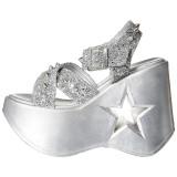 Argent 13 cm Demonia DYNAMITE-02 sandales lolita talons compensées
