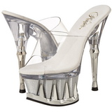 Argent 16,5 cm Pleaser SPIKY-601MG Plateforme Mules Chaussures