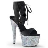 Argent 18 cm ADORE-700-14LG chaussures plateforme et talons glitter