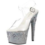 Argent 18 cm ADORE-708ROSE chaussures à talons plateforme strass