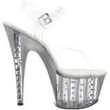 Argent 18 cm ADORE-708VLRS chaussures à talons plateforme strass
