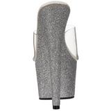 Argent 18 cm Pleaser ADORE-701SDG mules à talon aiguille glitter