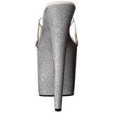 Argent 20 cm Pleaser FLAMINGO-801SDG Etinceler Plateforme Mules Hautes