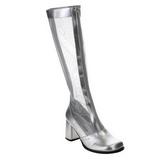 Argent 8,5 cm GOGO-307 bottes filet pour femmes a talon